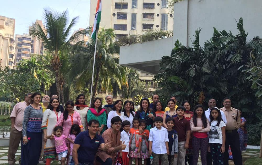 Thank my society for gvng me the honour of hoisting the flag 2day.. It's so good to b part of an extended family. - twitter @TheFarahKhan