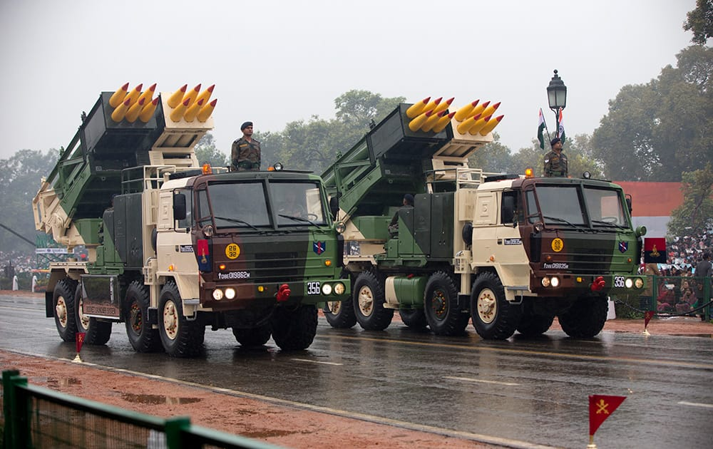 Military weapons move along the Republic Day Parade route in New Delhi.  President Barack Obama is the Chief Guest for this year's parade.