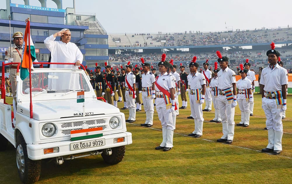 Chief Minister Naveen Patnaik inspecting the Republic Day parade at Barabati Stadium in Cuttack on Monday.