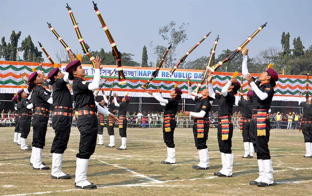 "Assam police women commando team ""Viranagana"" showing their skills during the 66th Republic Day celebrations in Guwahati on Monday."