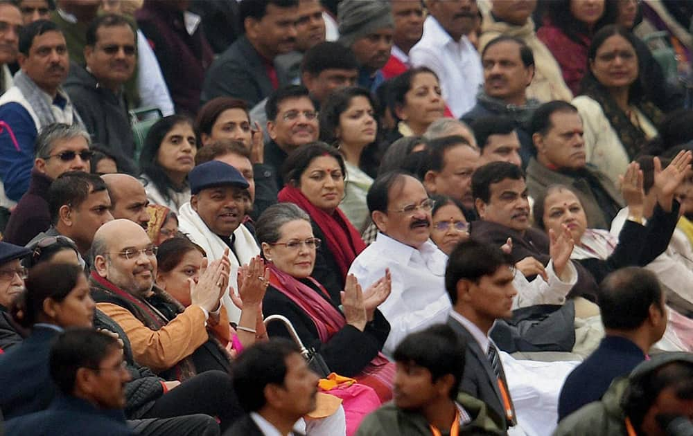 BJP President Amit Shah, Congress President Sonia Gandhi, Union ministers M Venkaiah Naidu, Nitin Gadkari, Harsh Vardhan and others during the 66th Republic Day parade at Rajpath in New Delhi.