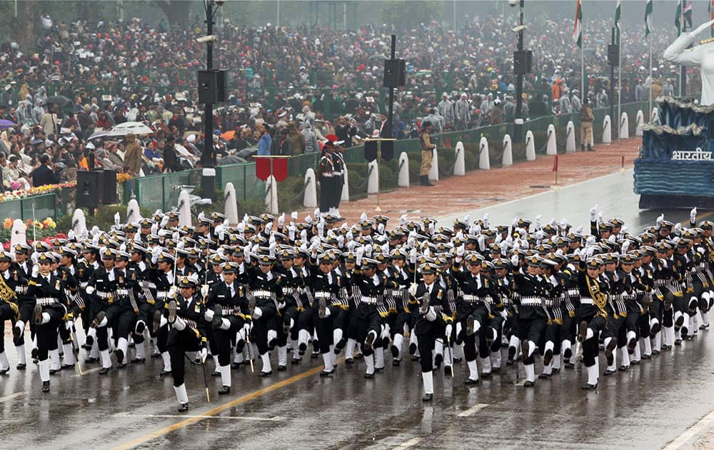 Navys women contingent marches during the 66th Republic Day Celebration at Rajpath in New Delhi.