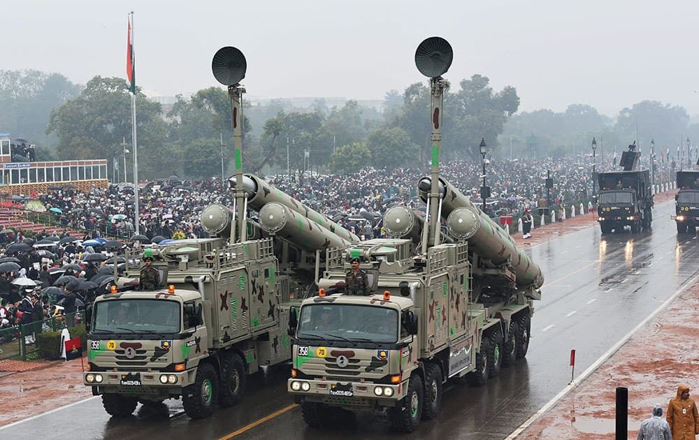 BRAHMOS WEAPON SYSTEM ON DISPLAY DURING THE 66TH REPUBLIC DAY CELEBRATION AT RAJPATH IN NEW DELHI.