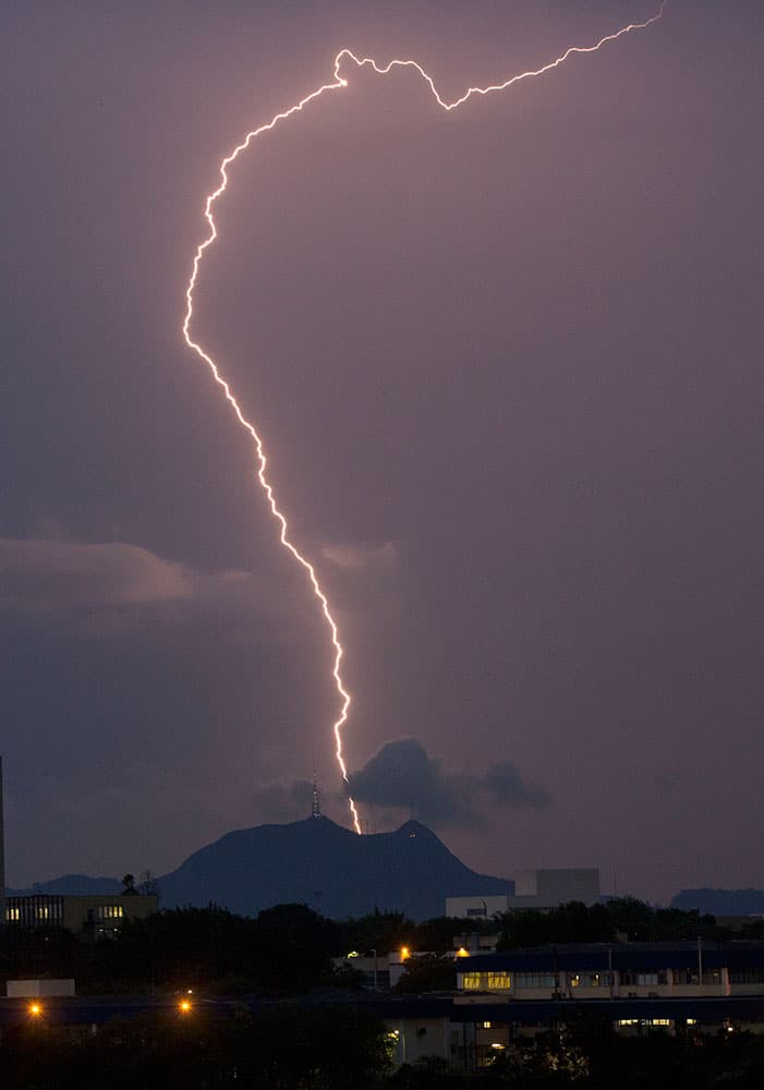 Lightning strikes during a heavy rain storm in Sao Paulo, Brazil.