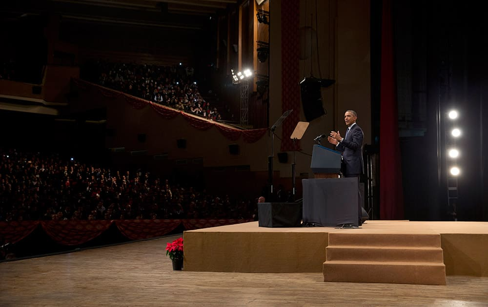 U.S. President Barack Obama speaks at the Siri Fort Auditorium in New Delhi.