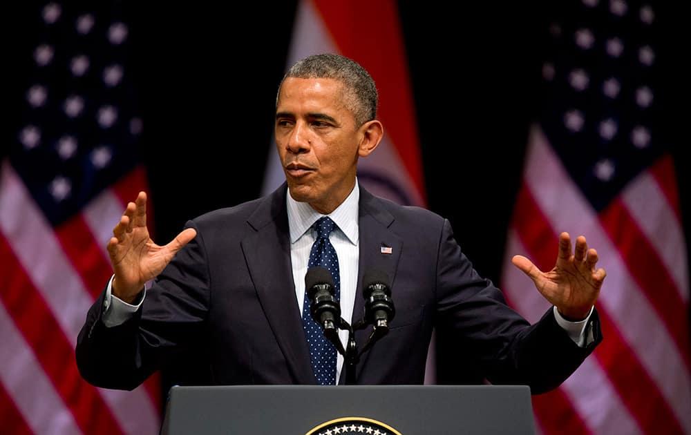 U.S. President Barack Obama speaks at the Siri Fort Auditorium, in New Delhi.