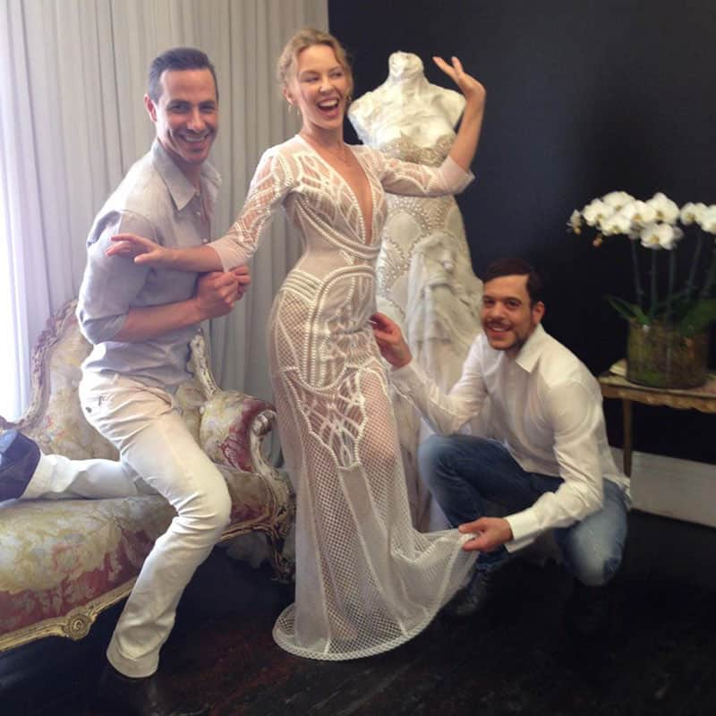 kylie minogue :- This was my final fitting with @JAtonCouture before the event the other night. -twitter