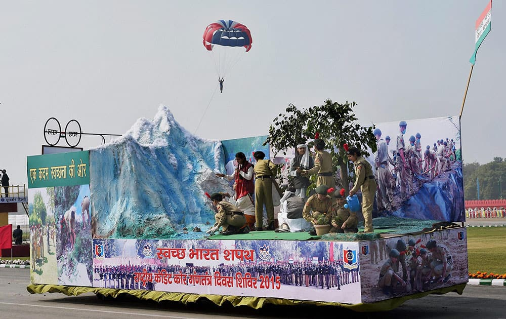 A tableau highlights Swachh Bharat campaign and other activities of the NCC during NCC PMs rally in New Delhi.