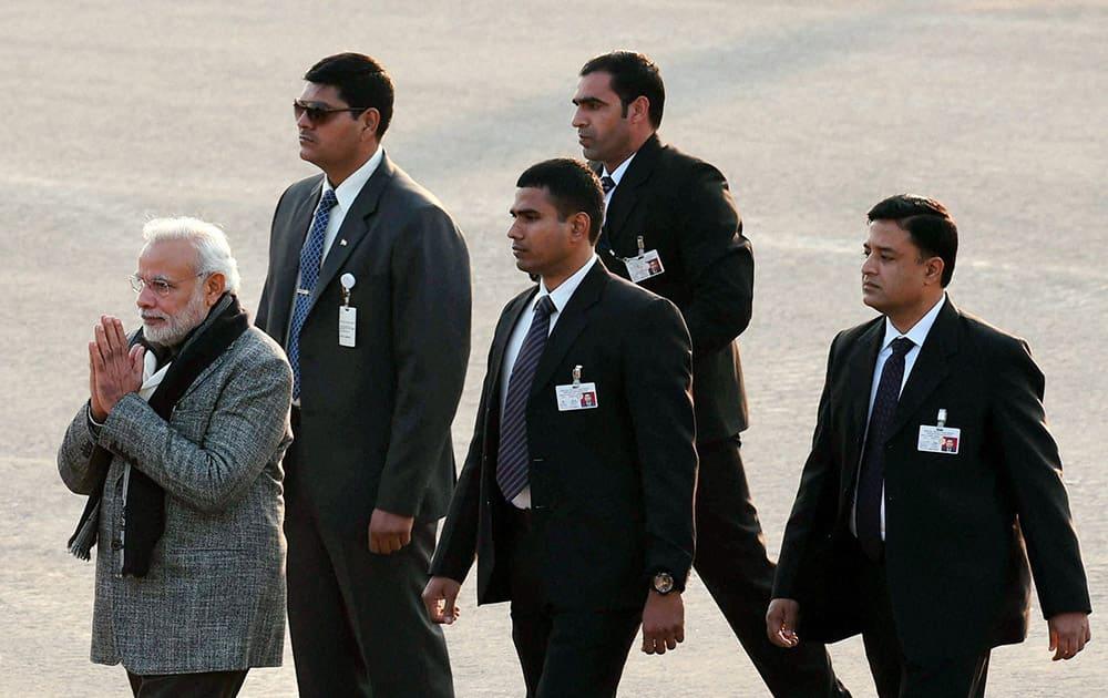 Prime Minister Narendra Modi at the Beating Retreat ceremony at Vijay Chowk in New Delhi.