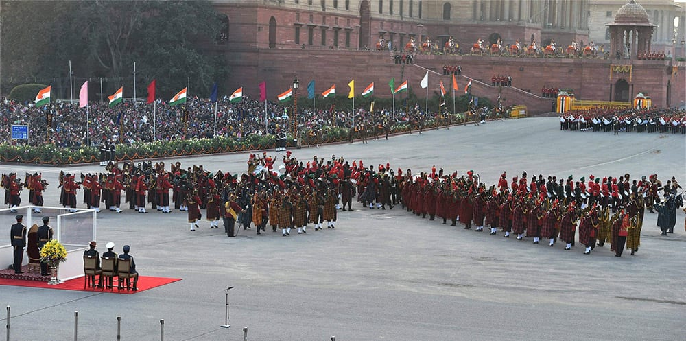 Services bands perform at the Beating Retreat ceremony at Vijay Chowk in New Delhi.
