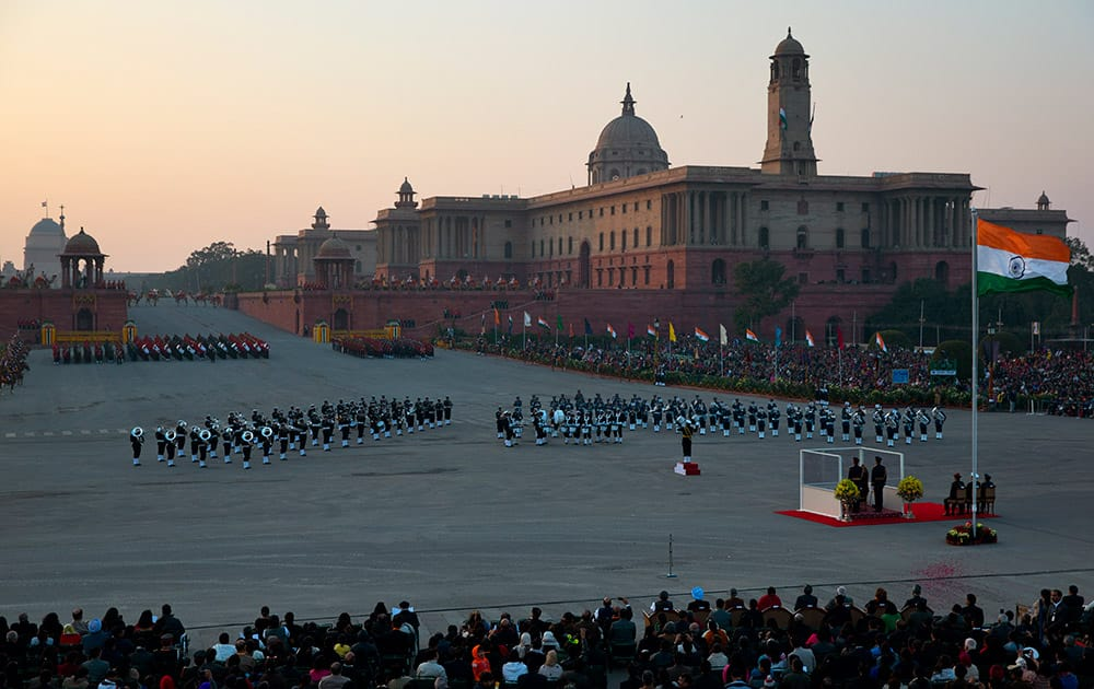 Bands from the three wings of Indian military perform during the Beating Retreat ceremony, in New Delhi.