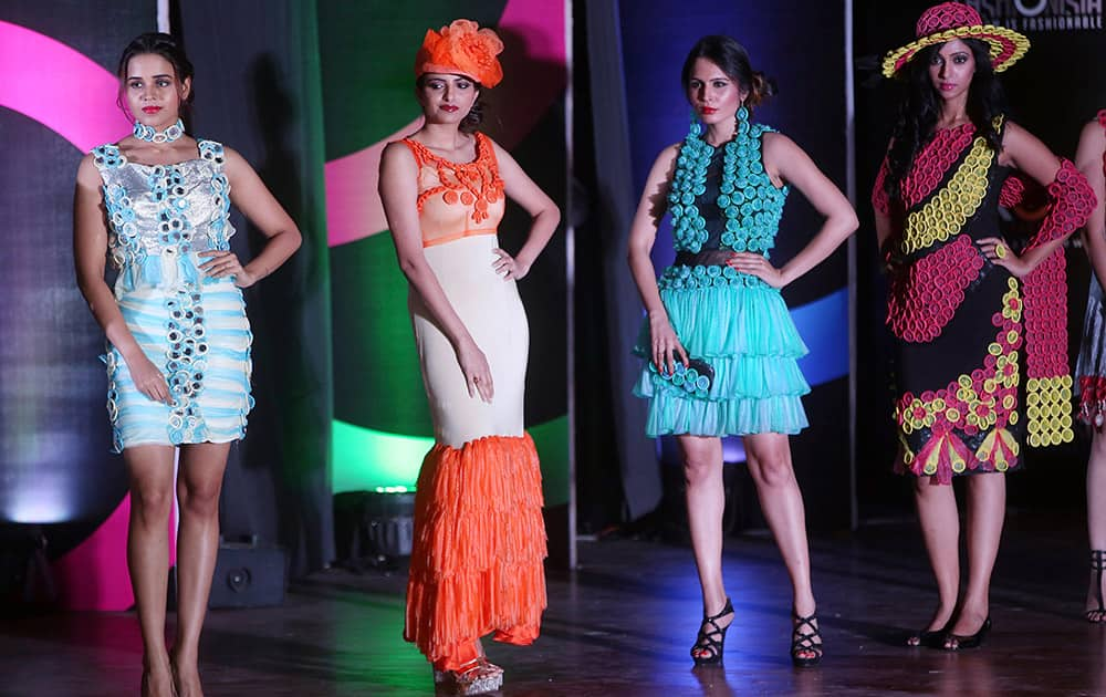 Models during a fashion show in Mumbai.