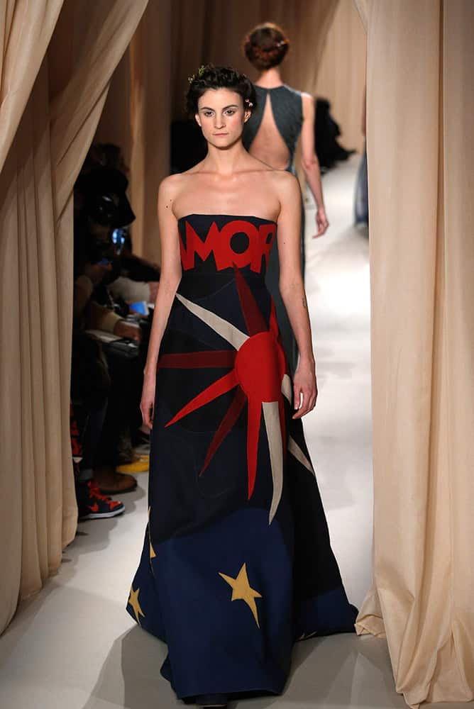 A model wears a creation for Valentino's Spring-Summer 2015 Haute Couture fashion collection presented in Paris.