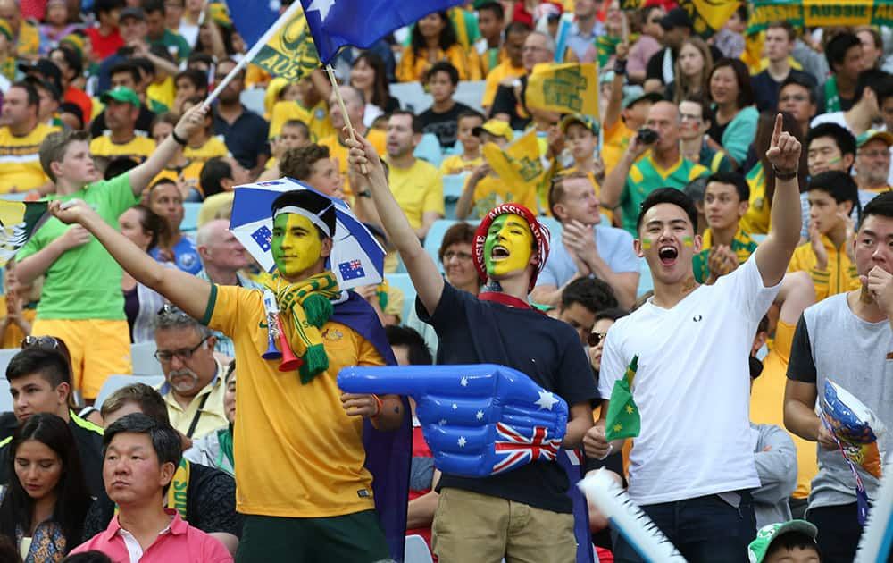 Australian supporters cheer during the AFC Asian Cup final soccer match between South Korea and Australia in Sydney, Australia.