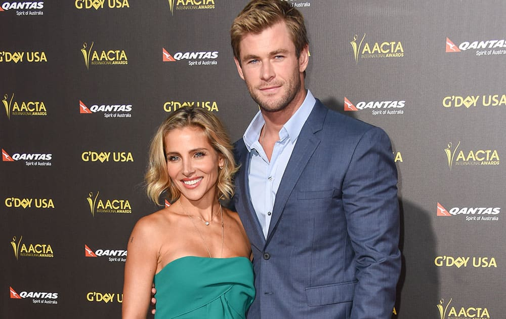Elsa Pataky, left, and Chris Hemsworth attend 2015 G'DAY USA GALA at the Hollywood Palladium, in Los Angeles.