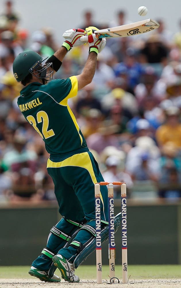 Australia's Glen Maxwell plays a shot during their one-day international cricket match against England in Perth, Australia, Sunday.