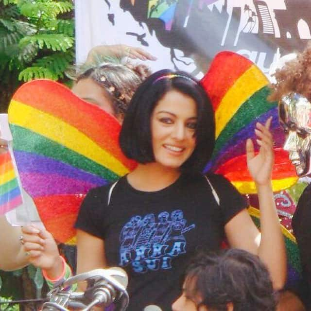 celina jaitly :- Congratulations on #MumbaiPride #20years! I couldn't join my beloved #LGBTQI this year but here is a pic frm one of my fav #PRIDE moments .. #longlivetherainbow -instagram