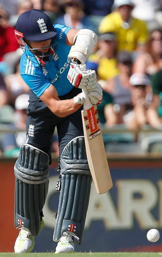 England's James Taylor plays as cover drive shot during their one day international cricket match against Australia in Perth, Australia.
