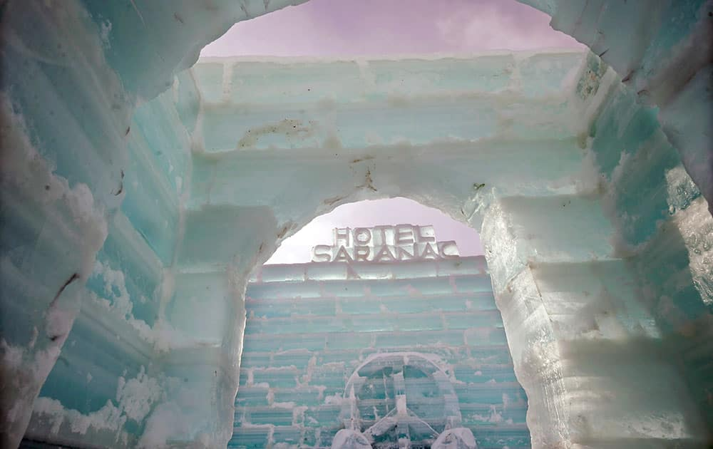The interior of the Hotel Saranac ice palace is seen in Saranac Lake, N.Y. Built by volunteers, the large ice palace is one of the annual attractions of the upcoming Saranac Lake Winter Carnival, which begins Feb. 6. The theme of the 2015 carnival is the Groovy '60s.