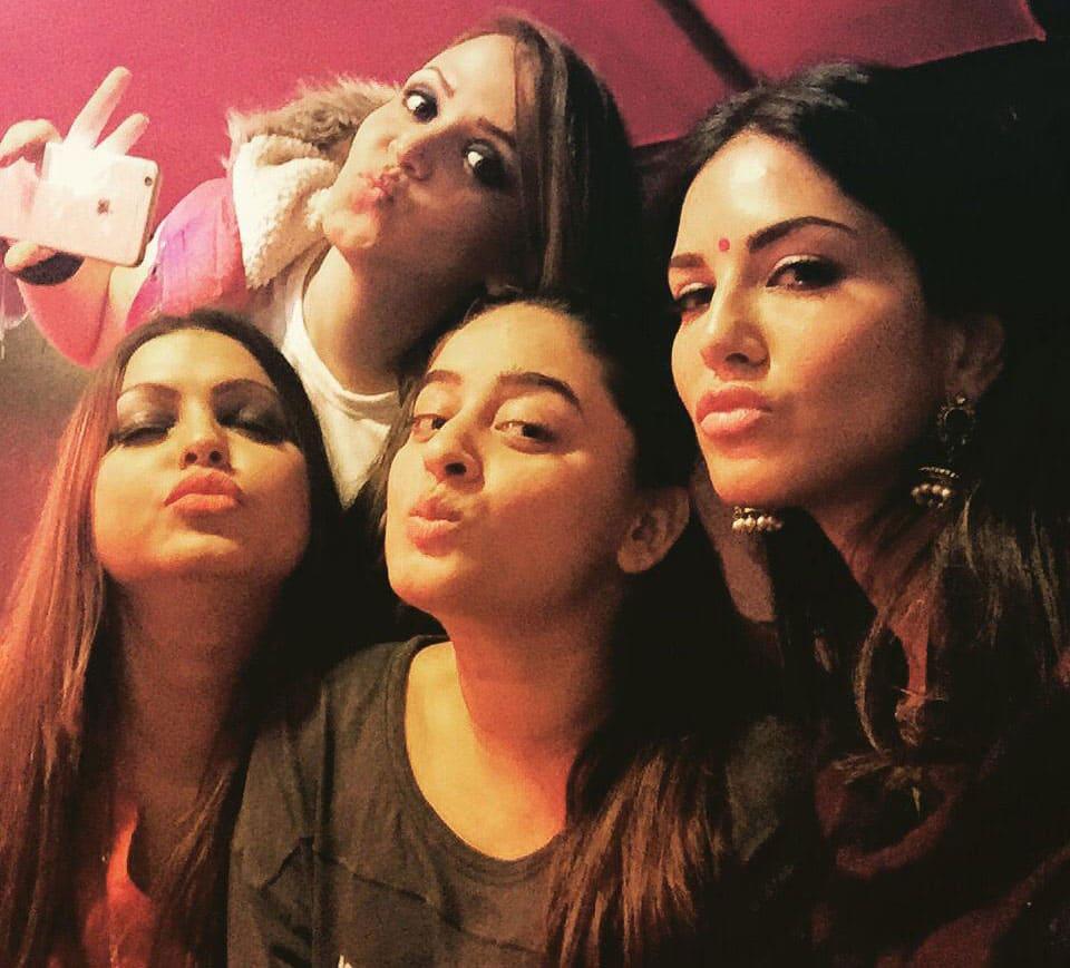 Sunny Leone -: Hanging with the girls on the set of Leela!! @mahhivij @khan_shaira and Munia! -twitter
