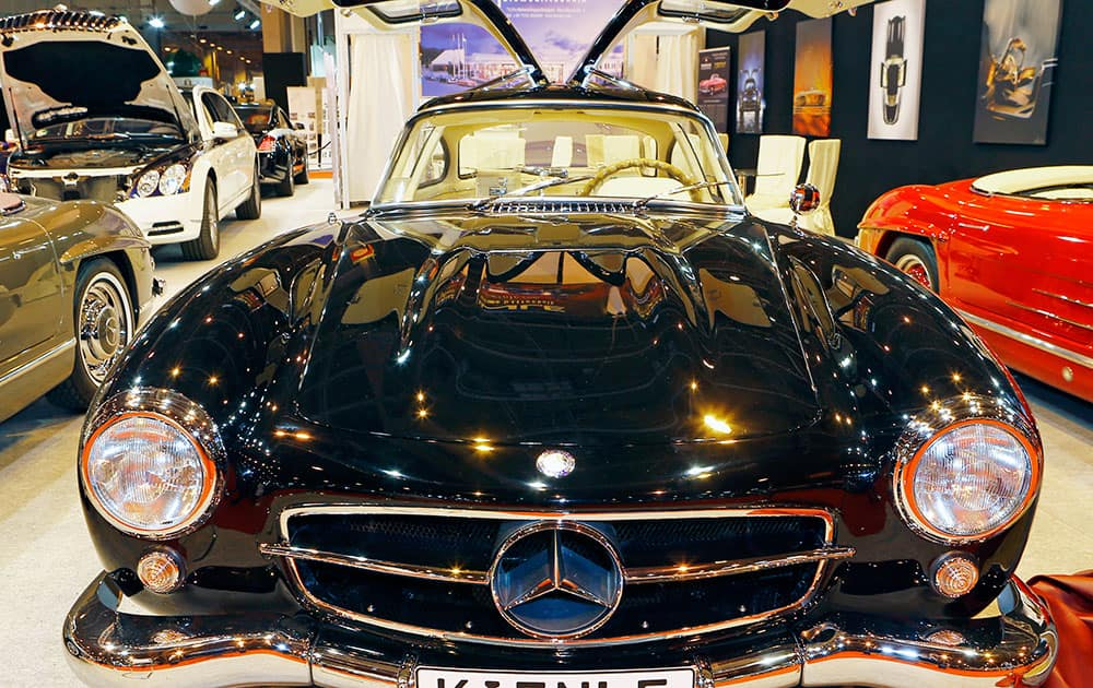 Mercedes Benz 300 SL Coupe Gullwing 1956 is displayed at the Paris Retromobile motor show, a display of vintage cars at Porte de Versailles in Paris.
