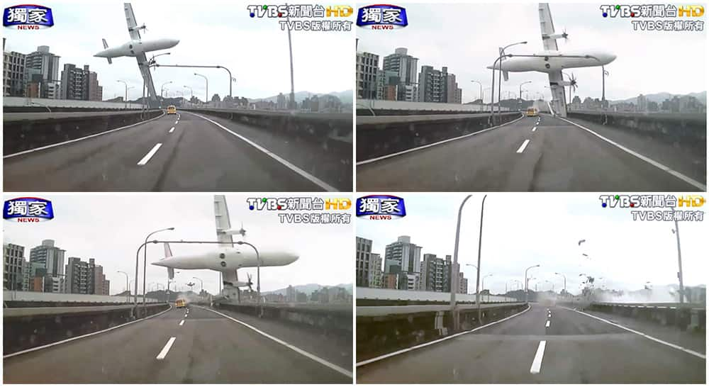 This combination photo, a series of images taken from video provided by TVBS show a commercial airplane clipping an elevated roadway just before it careened into a river in Taipei, Taiwan.