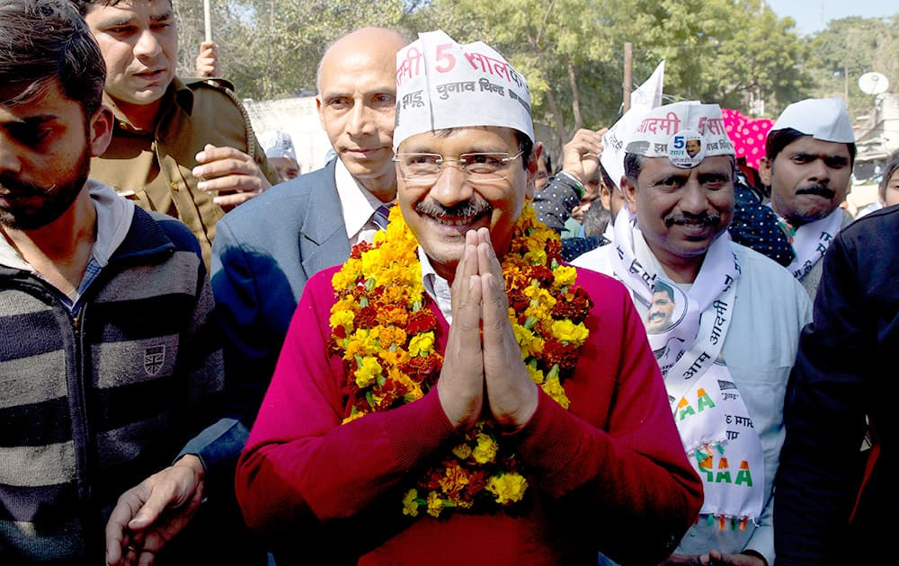 Aam Aadmi Party leader Arvind Kejriwal, campaigns ahead of Delhi state elections in New Delhi.