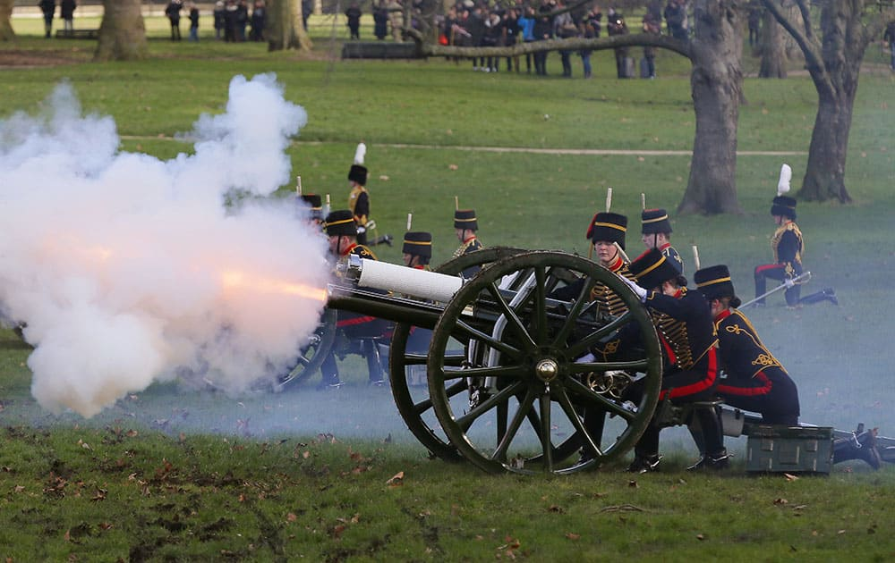 The King's Troop Royal Horse Artillery fire a 41 Royal Gun Salute in Green Park to mark the 63rd anniversary of Britain's Queen Elizabeth II's accession to the throne, in London, England.  On Sept. 9 this year the Queen will pass the record set by Queen Victoria to become the longest ever reigning monarch in British history.
