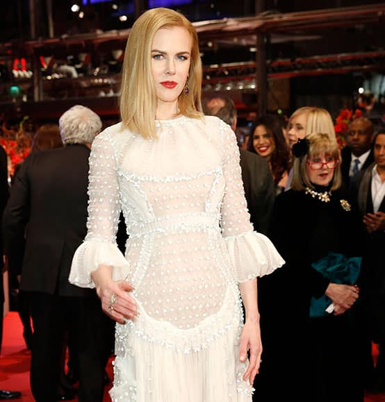 Actress Nicole Kidman poses on the red carpet for the premiere of Queen of the Desert at the 2015 Berlinale Film Festival.