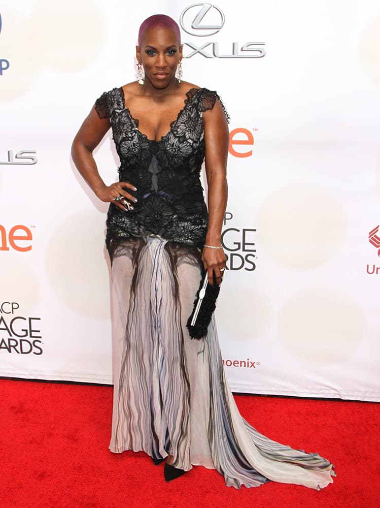 Liv Warfield arrives at the 46th NAACP Image Awards at the Pasadena Civic Auditorium in Pasadena, Calif.