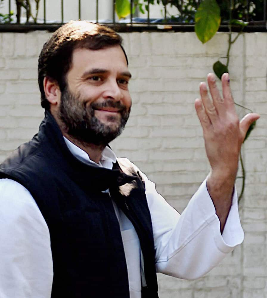 Congress Vice President Rahul Gandhi after casting his vote for the Assembly elections, in New Delhi.