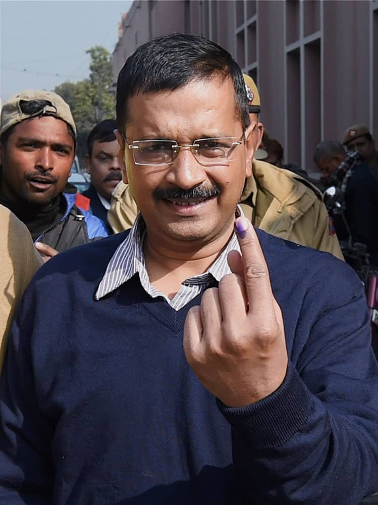 AAP CONVENOR ARVIND KEJRIWAL AFTER CASTING HIS VOTE FOR THE ASSEMBLY ELECTIONS, IN NEW DELHI.