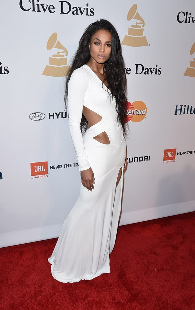 Ciara arrives at the 2015 Clive Davis Pre-Grammy Gala at the Beverly Hilton Hotel on Saturday in Beverly Hills, Calif.