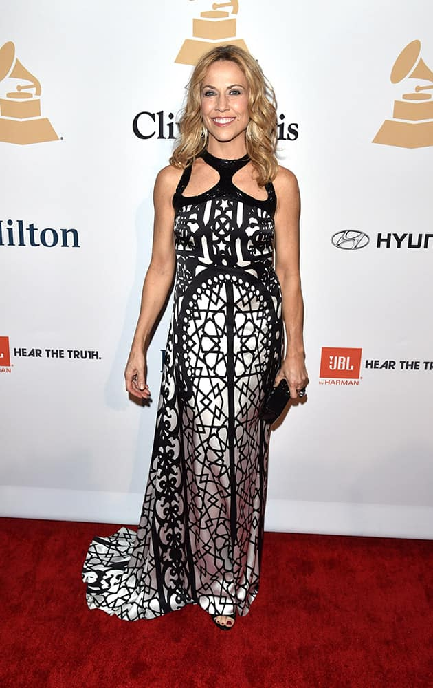 Sheryl Crow arrives at the 2015 Clive Davis Pre-Grammy Gala at the Beverly Hilton Hotel on Saturday in Beverly Hills, Calif.
