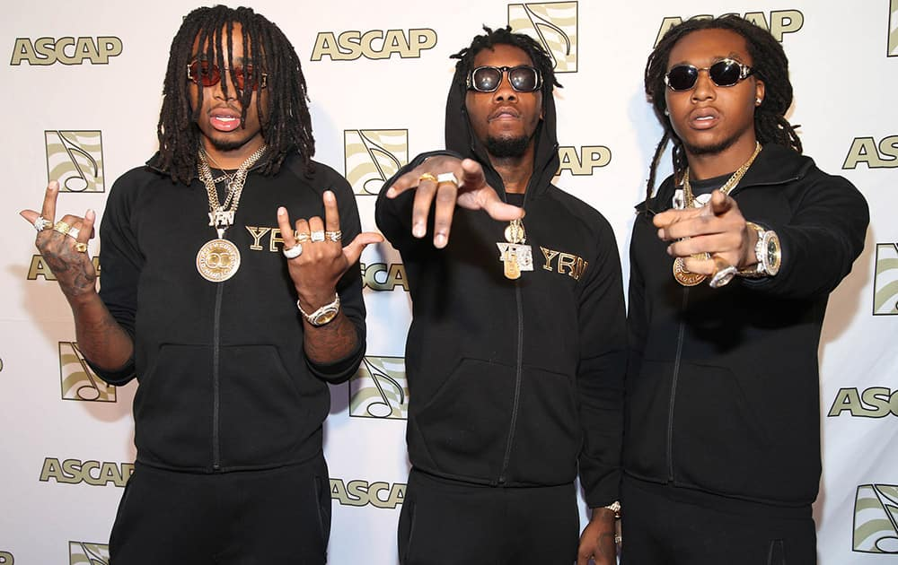 Music group Migos attend the ASCAP Presents The 2015 Grammy Nominees Brunch at the SLS Hotel Beverly Hills in Beverly Hills, Calif.