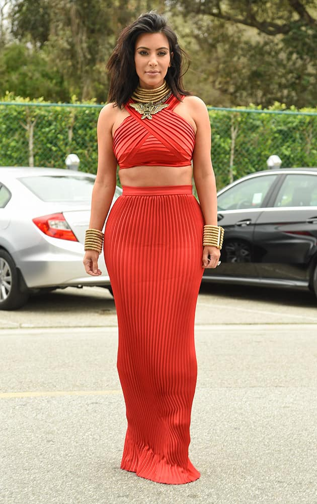 Kim Kardashian arrives at the Roc Nation Pre-Grammy Brunch at RocNation Offices in Beverly Hills, Calif.