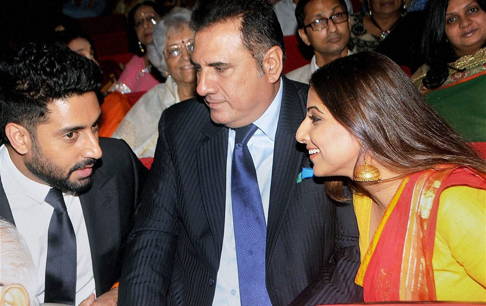 Bollywood actors Abhishek Bachchan, Boman Irani and Vidya Balan during the Diamond Jubilee celebrations of Kishinchand Chellaram College in Mumbai.