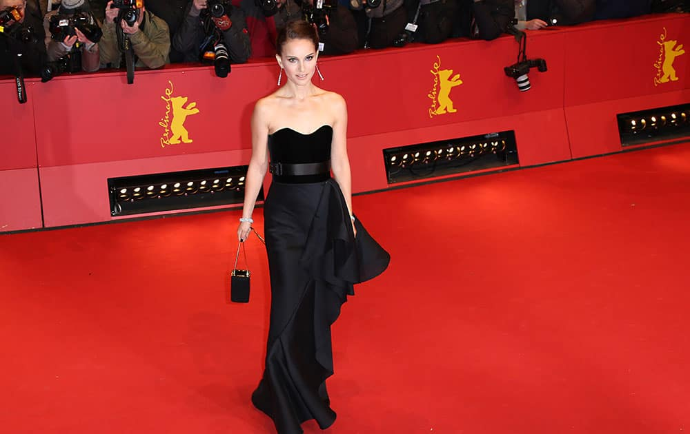 Actress Natalie Portman poses for photographers on the red carpet of the film Knight of Cups at the 2015 Berlinale Film Festival.
