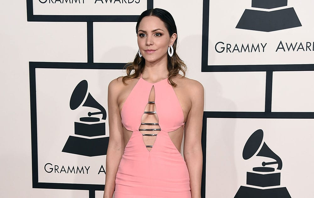 Katharine McPhee arrives at the 57th annual Grammy Awards.