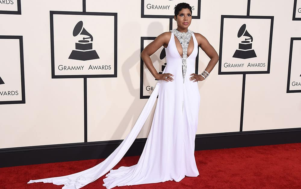 Toni Braxton arrives at the 57th annual Grammy Awards.