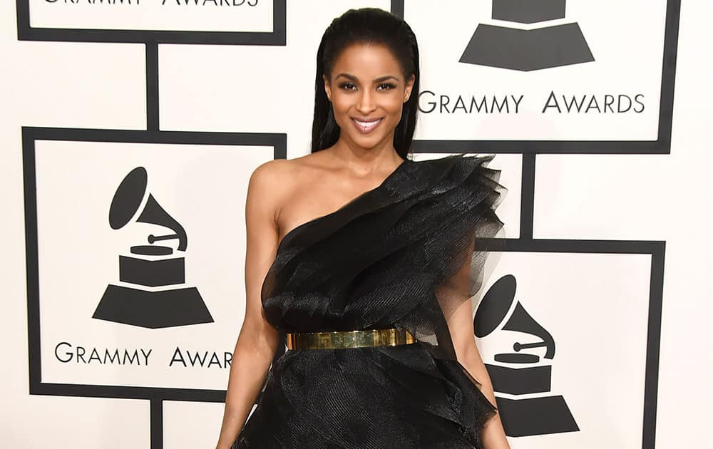 Ciara arrives at the 57th annual Grammy Awards.