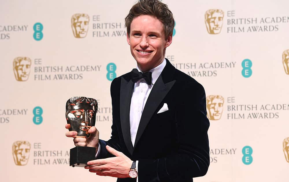 Eddie Redmayne, winner of Best Actor for The Theory of Everything poses for photographers in the winners room, during the British Academy Film and Television Awards 2015.