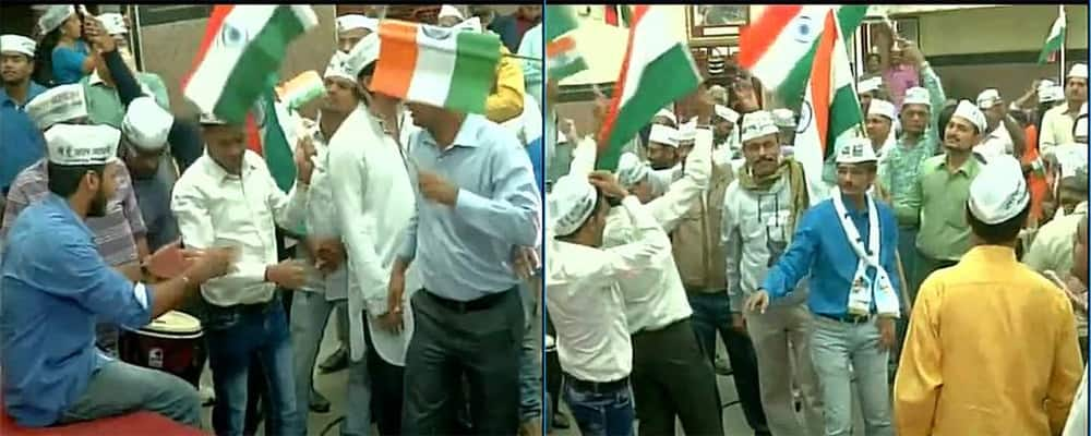 Celebration at AAP office in Mumbai #DelhiPollResults. Pic Courtesy:Twitter