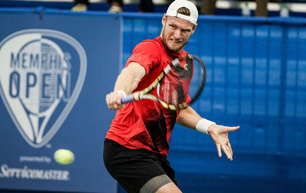 Sam Groth returns the ball while playing against Yen-Hsun Lu at the U.S. National Indoor Tennis Championships.