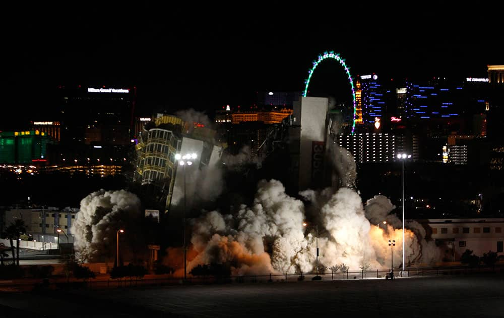 The Clarion hotel and casino is imploded in Las Vegas. The 200-room casino-hotel opened in 1970 as the Royal Inn and was called the Debbie Reynolds, for its one-time owner, as well as the Greek Isles and the Paddle Wheel. The Clarion is the first hotel to be imploded since 2007.