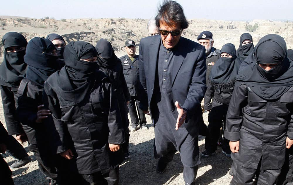 Imran Khan, Pakistani cricketer-turned-politician whose party rules in Pakhtunkhwa province, visits a police commandos training session in Nowshera, near Peshawar Pakistan.