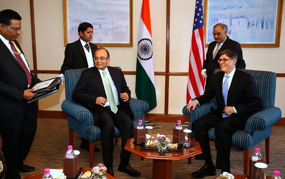 US Treasury Secretary Jacob Lew sits for a meeting with Finance Minister Arun Jaitley in New Delhi. Lew is on a two-day visit to the country.