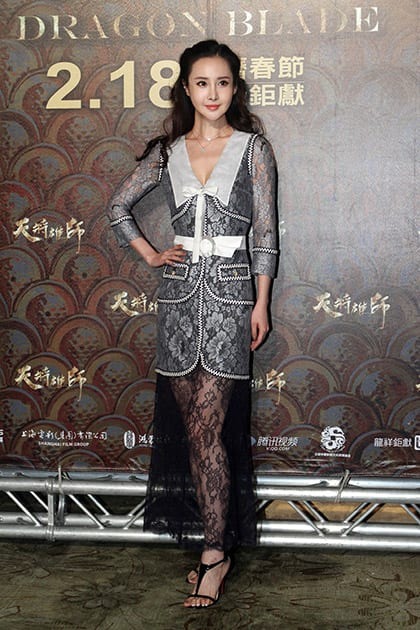 Chinese actress Mika Wang poses for photo call during an event to promote her new movie