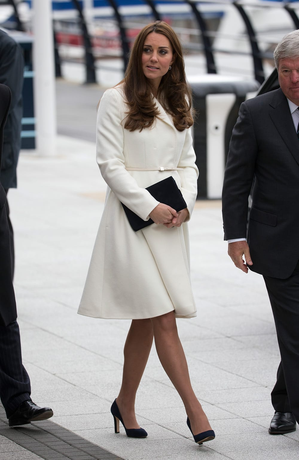 Britain's Kate Duchess of Cambridge, who is pregnant, arrives to attend a reception at the Spinnaker Tower in Portsmouth, England.
