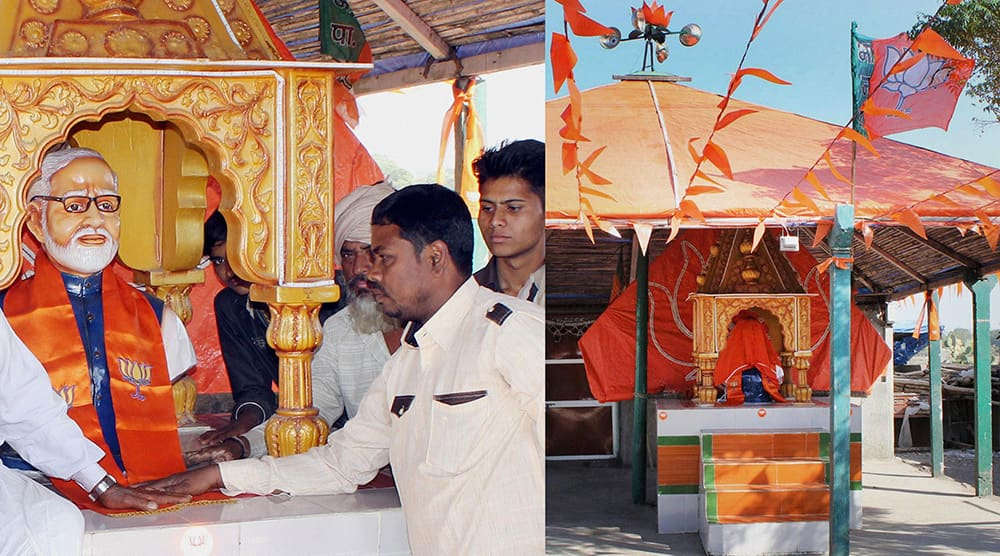 People inside the Namo Temple at Rajkot built by supporters of the Prime Minister Narendra Modi who on Thursday expressed his strong disapproval of it. Later on Thursday the bust was covered (right).